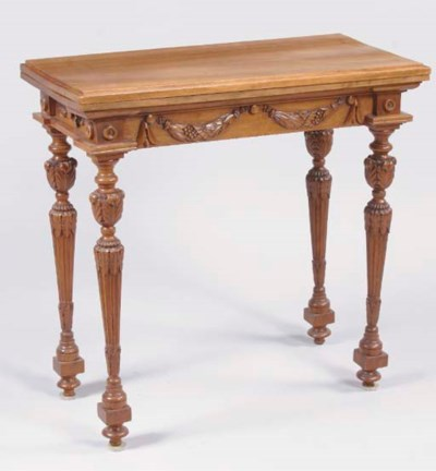 A FRENCH WALNUT GAMESTABLE