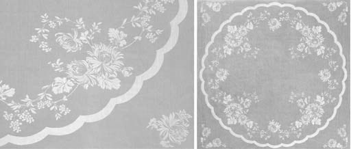 Two damask linen tablecloths a