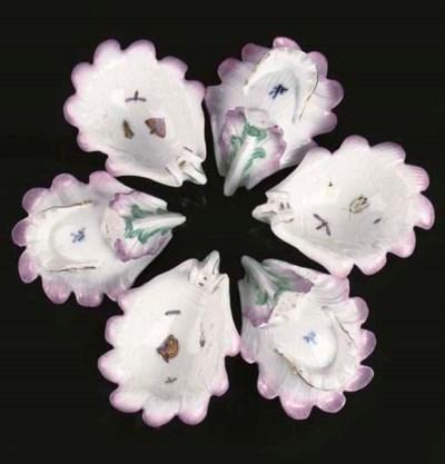 A set of six Meissen porcelain