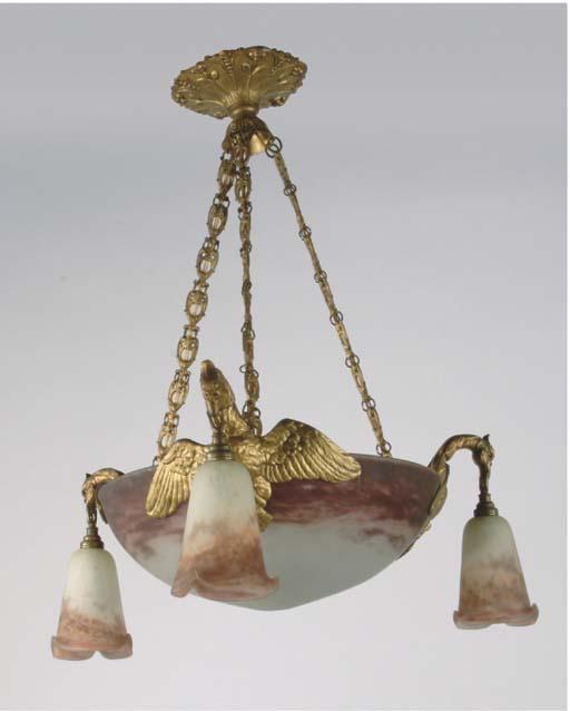 A gilt metal and glass chandel