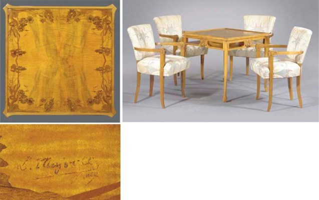 (5) A marquetry and fruitwood