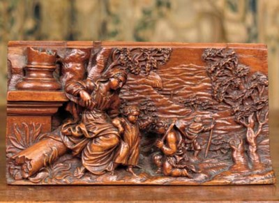 A CARVED BOXWOOD RELIEF