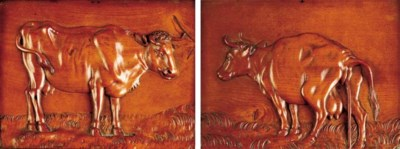 A PAIR OF RECTANGULAR CARVED W