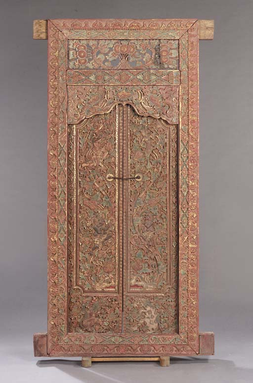 A Balinese wood carved door