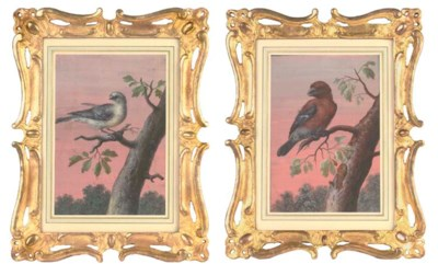 A pair of gouache paintings of