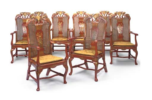 A SET OF EIGHT GEORGE II RED A