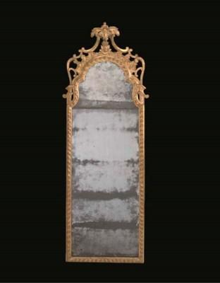 A GEORGE II GILTWOOD PIER GLAS