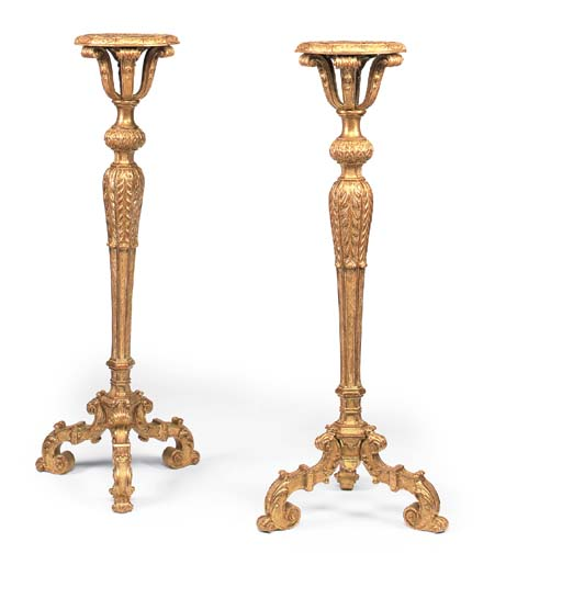 A PAIR OF GILT-GESSO TORCHERES
