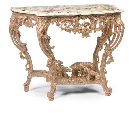 A LOUIS XV GILTWOOD PIER TABLE