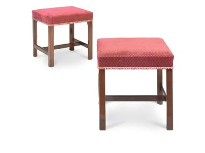 A PAIR OF MAHOGANY STOOLS