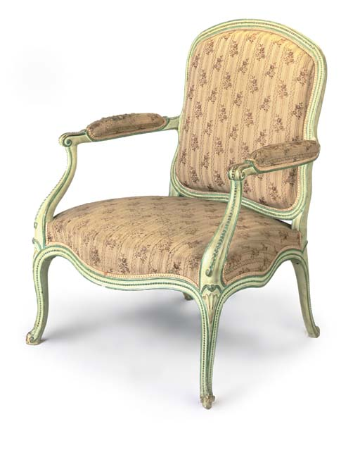 A GREEN-PAINTED OPEN ARMCHAIR