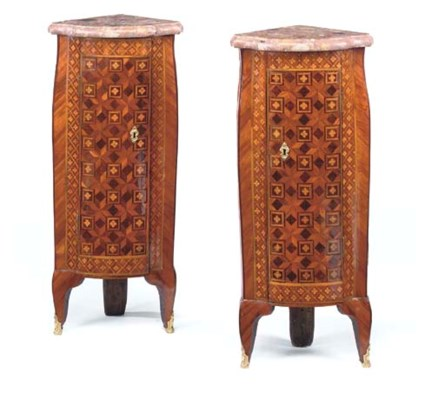 A PAIR OF LOUIS XV TULIPWOOD A
