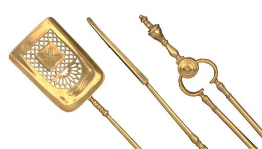 A SET OF THREE BRASS FIRE-IRON