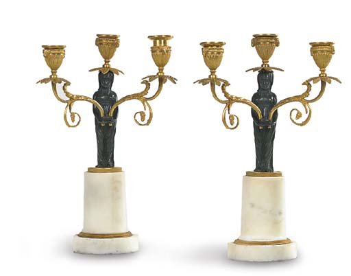 A PAIR OF BRONZE, ORMOLY AND W