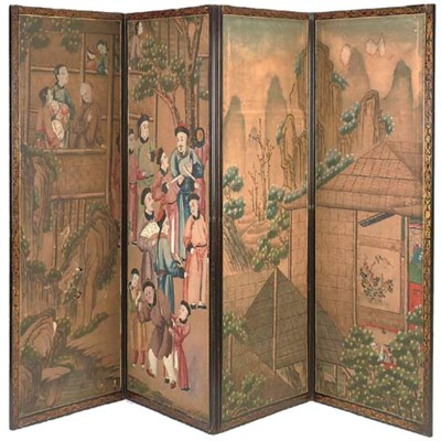 A BLACK AND GILT-JAPANNED AND