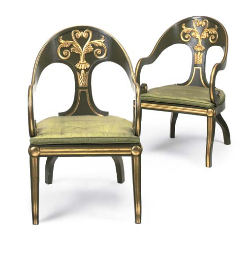 A PAIR OF REGENCY GREEN-PAINTE