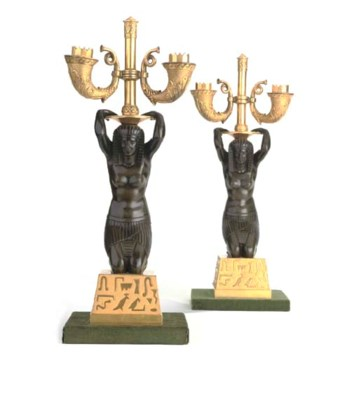 A PAIR OF BRONZE AND ORMOLU TW