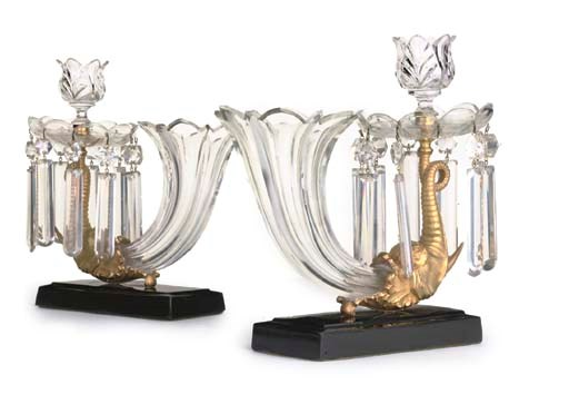 A PAIR OF CUT-GLASS AND ORMOLU