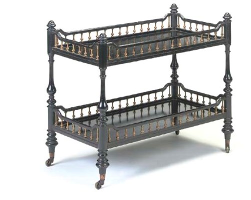 A VICTORIAN EBONISED TWO-TIER