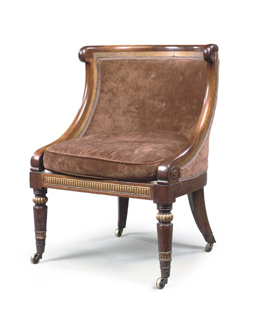 A GEORGE IV ROSEWOOD AND PARCEL-GILT BERGERE