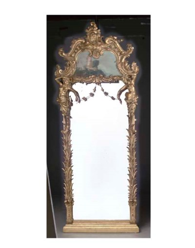 A Rococo style giltwood and pa