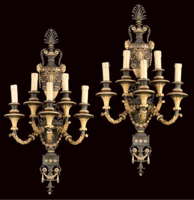 A pair of Adam style gilt and