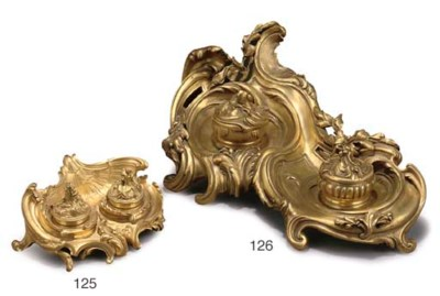 A Rococo style ormolu encrier