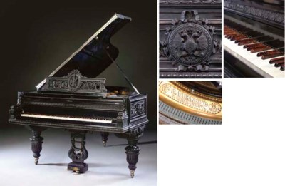 A Russian carved ebony grand p
