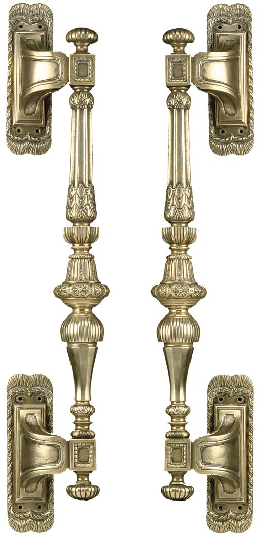 A pair of large cast brass ent