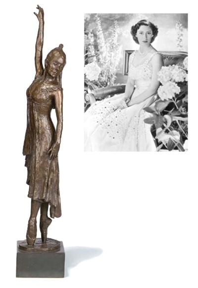 A bronze figure of Dame Margot