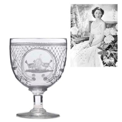 A LARGE ENGRAVED GLASS RUMMER