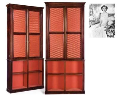 A pair of Regency oak library