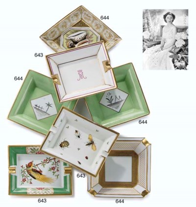 THREE PORCELAIN DISHES AND AN