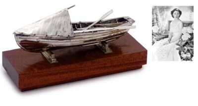 A SILVER MODEL OF A WHALER