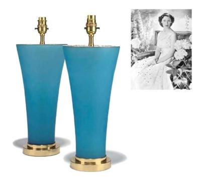A pair of blue-opaline glass v