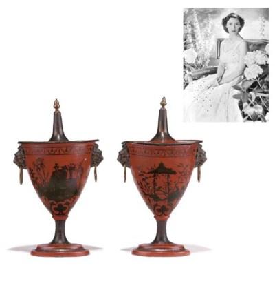 A pair of Regency scarlet-japa