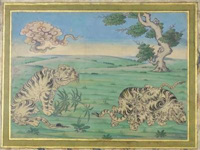 ORIENTAL TIGERS IN A LANDSCAPE
