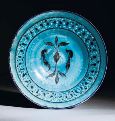 A KASHAN TURQUOISE GLAZED PIER