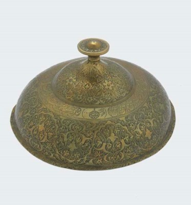 A SAFAVID ENGRAVED BRASS COVER