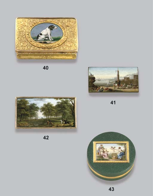 A LOUIS-PHILIPPE TWO-COLOUR GOLD SNUFF-BOX SET WITH A MICROMOSAIC