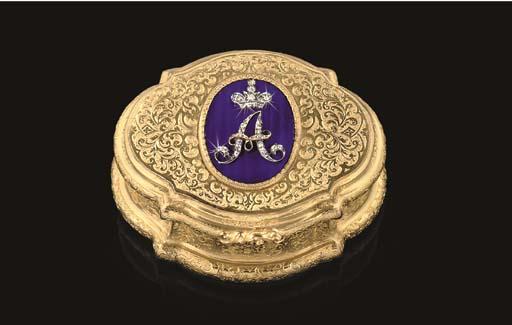 A GERMAN JEWELLED GOLD PRESENTATION SNUFF-BOX