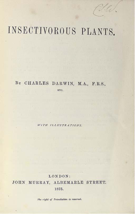 DARWIN, Charles Robert (1809-1882). Insectivorous Plants. London: John Murray, 1875.