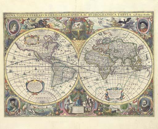 HONDIUS, Henricus (1597-1651). Nova Totius Terrarum Orbis Geographica ac Hydrographica tabula ... Henr. Hondius Ao 1630. Amsterdam: [1636].