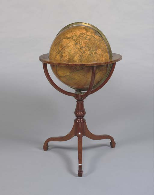 CARY, John (1754-1835) and William CARY (1759-1825). Cary's New Terrestrial Globe, exhibiting the tracks and discoveries made by Captain Cook; also those of Captain Vancouver on the North West Coast of America and M. de la Perouse on the Coast of Tartary. London: made and sold by J. & W. Cary, Strand, 1 March 1800.