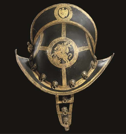 A FINE ETCHED AND GILT MORION OF THE TRABANTENLEIBGARDE OF THE PRINCE ELECTORS OF SAXONY