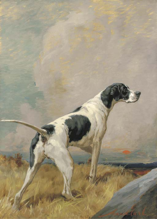 Maud Earl (1864-1943) | A pointer in a landscape at sunset ...