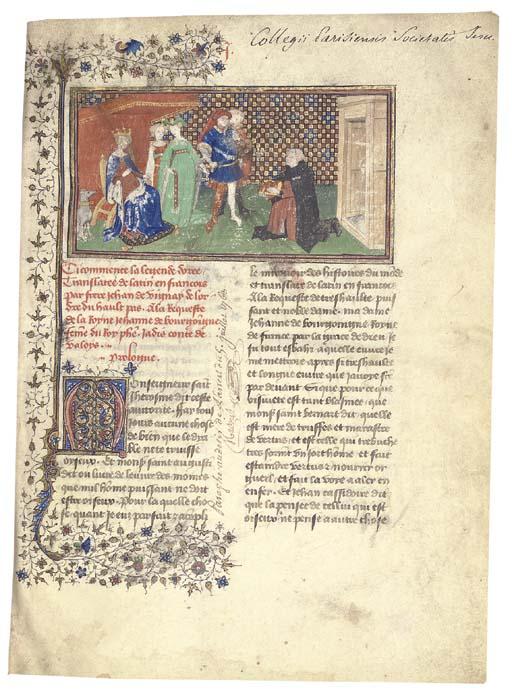 JACOBUS DE VORAGINE (c.1228-1298), Legenda aurea, first volume, in the French translation of Jean de Vignay (c.1285-c.1350), ILLUMINATED MANUSCRIPT ON VELLUM