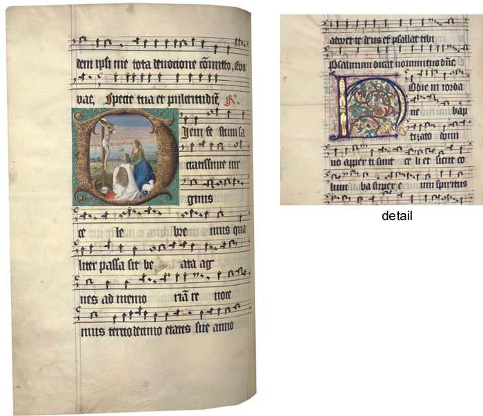 TWO WINTER ANTIPHONAL VOLUMES, in Latin, ILLUMINATED MANUSCRIPT ON VELLUM