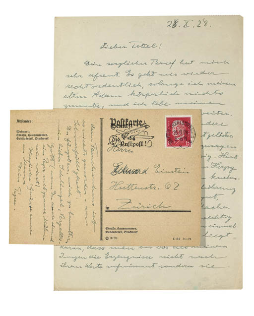EINSTEIN, Albert (1879-1955). Autograph letter and autograph postcard signed ('Papa') to his younger son, Eduard ('Tetel'), the former n.p., 26 October 1928, the latter [Berlin, postmarked 25 November 1928], together 2 pages, 4to, and 1½ pages, 8vo (light pencil markings to margin of letter, postcard evenly browned).