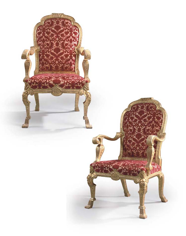 A PAIR OF GEORGE I GILT-GESSO OPEN ARMCHAIRS